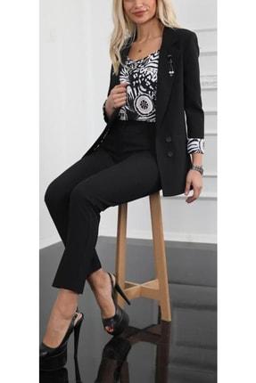 MODAMOR Kadın Siyah Kol Manşetleri Baskılı 3'lü Takım Elbise (CEKET VE PANTOLON)