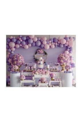 MERİ PARTİ 100 Adet Lila Pembe Soft Balon Zincir