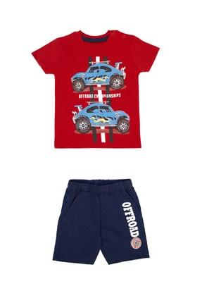 Pattaya Kids Erkek Bebek Kırmızı Araba Baskılı Takım 2li 6-24 Ay Pb21s505-2048