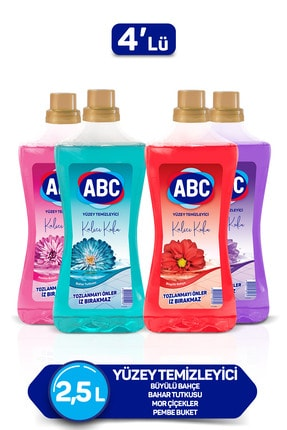 ABC Yüzey Temizleyici Büyülü Bahçe + Bahar Tutkusu + Mor Çiçekler + Pembe Buket 2500ml 4'lü Set