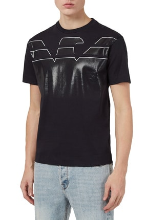 Emporio Armani Erkek Siyah Baskılı Bisiklet Yaka Pamuk T Shirt 3k1tc0 1julz 0999