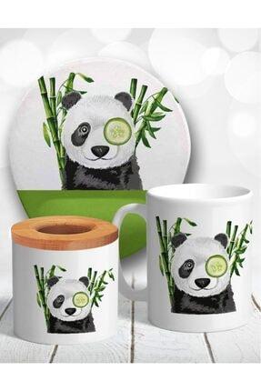Atölye Çizgi Süslü Panda Bambu Masaüstü Seti Mouse Pad Kupa Kalemlik