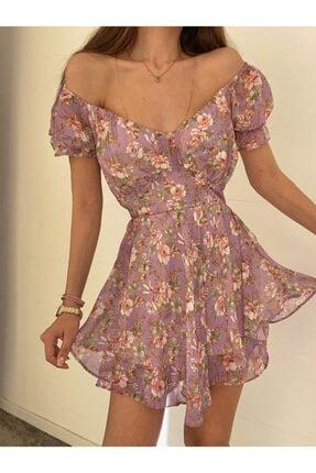 Valeur Çiçek Desen Mor Mini Katlı Şifon Elbise
