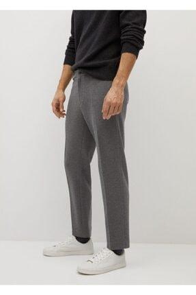 MANGO Man Erkek Gri Dar Kesim Koton Pantolon