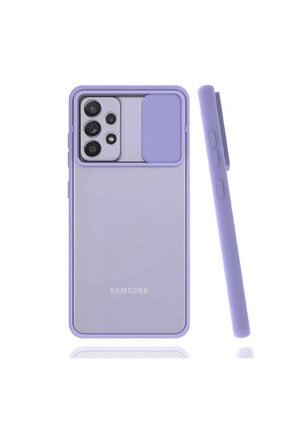 Samsung Galaxy A52 Uyumlu Kamera Korumalı Kızaklı Mat Sert Kapak Silikon Kılıf Lila