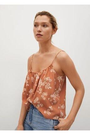 MANGO Woman Kadın Kahverengi Çiçekli Üst Bluz