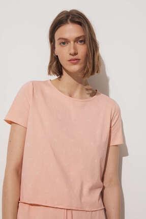 Oysho Kadın Şeftali Renk Pamuklu Şal Desenli Kısa Tişört