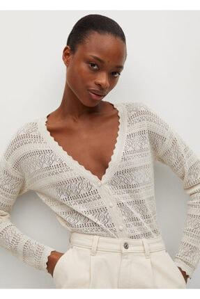 MANGO Woman Kadın Açık Pastel Gri Delikli Örgü Hırka
