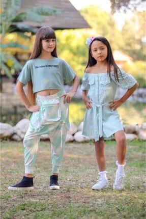 Escabel Kız Çocuk Yeşil Batik Desenli Çanta Cepli Şalvar