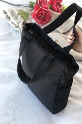 Bagzone Kadın Siyah Kabartmalı Puf Kumaş Shopper Çanta