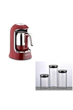KORKMAZ A860-03 Kahvekolik Otomatik Türk Kahve Makinesi Kırmızı 4 Fincan