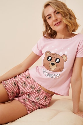 Happiness İst. Kadın Pembe Baskılı T-Shirt-Şort Pamuklu Örme Pijama Takımı NL00015