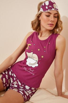 Happiness İst. Kadın Mürdüm Baskılı Atlet Şort Pamuklu Örme Pijama Takımı NL00013