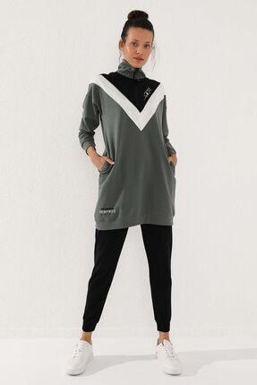 Tommy Life Çağla-siyah Kadın Dik Yaka Yarım Fermuar Rahat Form Jogger Eşofman Tunik Takım-95234