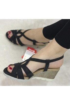 Polaris Kadın Siyah 5 Nokta Ortopedik Yazlık Dolgu Topuk Ayakkabı