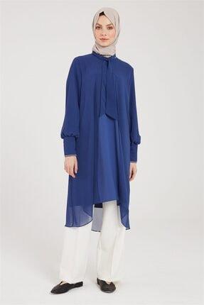Zühre Kadın Indigo Fular Yaka Detaylı Tunik T-0995