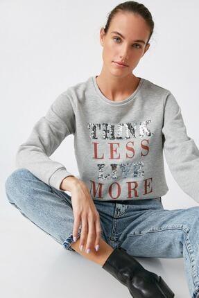 Koton Kadın Gümüş Sweatshirt 1KAK13624EK