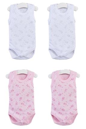 Pattaya Kids Kız Bebek Çıtçıtlı Kolsuz 4lü Zıbın Takımı 0-36 Ay Ptk20s-403