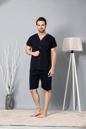 Oksit Dorothy Tam Düğmeli Bermuda Kapri Erkek Pijama Takımı