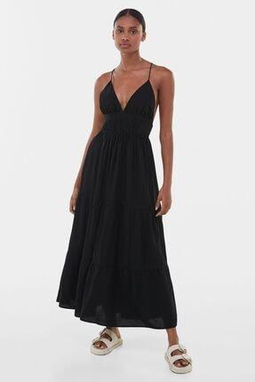 Bershka Kadın Siyah Uzun Keten Elbise