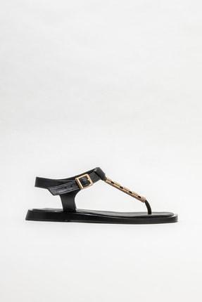 Elle Shoes Siyah Deri Kadın Parmakarası Sandalet
