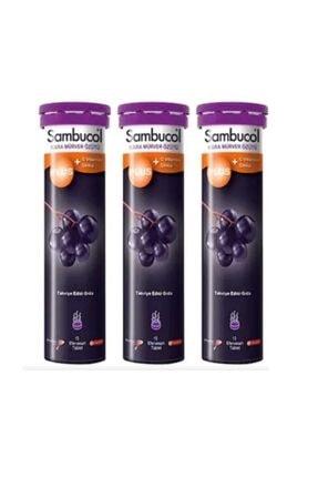 Sambucol Plus Kara Mürver Bitki Özütlü Efervesan Tablet 3 Lü Avantaj Paketi