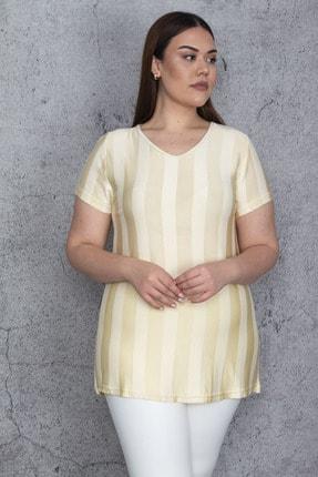 Şans Kadın Bej İnce Floş Viskon Çizgili Bluz 65N25698