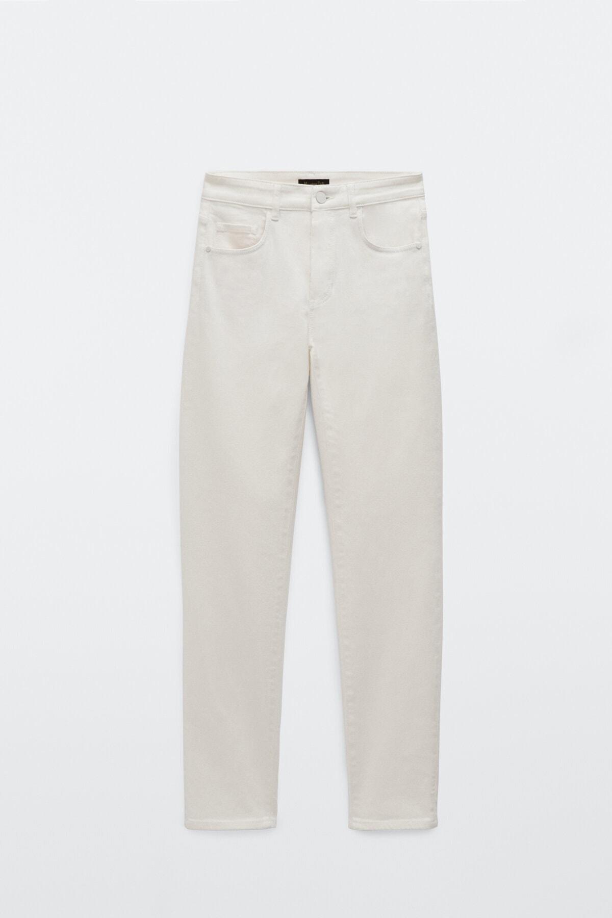 Massimo Dutti Kadın Orta Bel Crop Slim Fit Jean 05065712