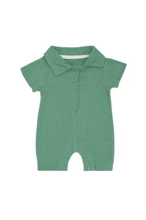 Pattaya Kids Erkek Bebek Yeşil Organik Müslin Tulum 0-9 Ay Pb21s506-2113-d