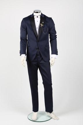 Sarar Erkek Lacivert Terral Smokin Damatlık Takım Elbise