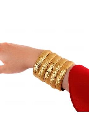 Yıldız Gold İmitasyon 22 Ayar Altın Kaplama Çizgi Desen 1.5 Cm Bilezik