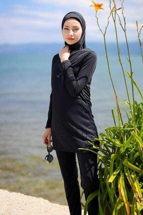 Marina Etek Ucu Inci Detaylı Tam Kapalı Tesettür Mayo R1013 Siyah