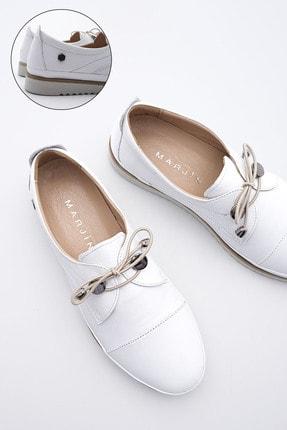 Marjin Kadın Hakiki Deri Comfort Ayakkabı Demasbeyaz