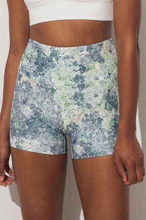 Oysho Kadın Mavi Desenli Compressive Hot Pants