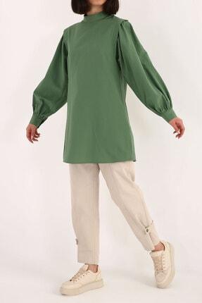ALLDAY Kadın Yeşil Omuz Pile Detaylı Balon Kol Tunik