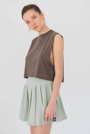 Addax Kadın Vizon Kolsuz T-shirt