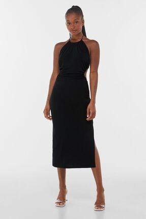 Bershka Kadın Siyah Sırt Dekolteli ve Yanları Pencere Detaylı Midi Elbise