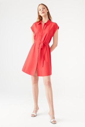 Mavi Kadın Düğmeli Kırmızı Elbise 131139-29723