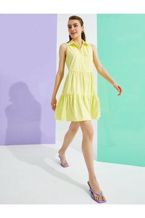 Koton Kadın Sarı Kolsuz Pamuklu Gömlek Yaka Elbise