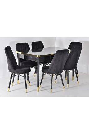 Kaktüs Avm Siyah Açılır Masa Sandalye Takımı 6 Kişilik Yemek Masası Salon Masası Masa Takımı Ahşap Masa