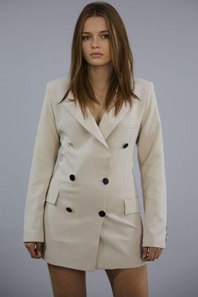 Madmext Kadın Bej Kruvaze Blazer Ceket Mg1085
