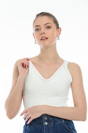 PebbleStar Kadın Beyaz Crop Büstiyer
