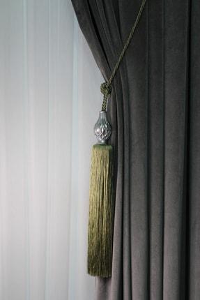 ŞİRİNLER Luxury Tavan Braçol (yeşil) Ananas Gümüş - Lüks Fon Perde Korniş Bağlama Aksesuarı