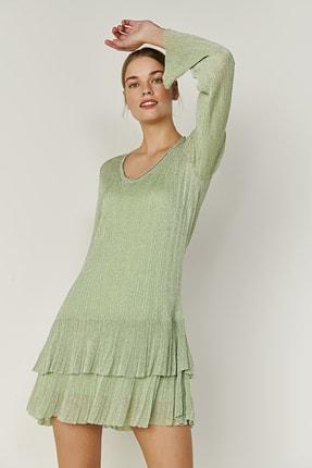 JOIN US Kadın Yeşil V Yaka Simli Fırfırlı Triko Elbise