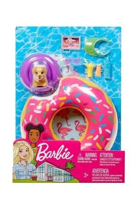 Barbie Ev Dışı Dekorasyon Aksesuarları - Yüzme Simidi Seti FXG38-FXG37