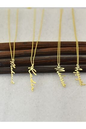ernsilver Kadın Altın Özel Tasarım Dikey Isimli 925 Ayar Gümüş Kolye, Altın Kaplama