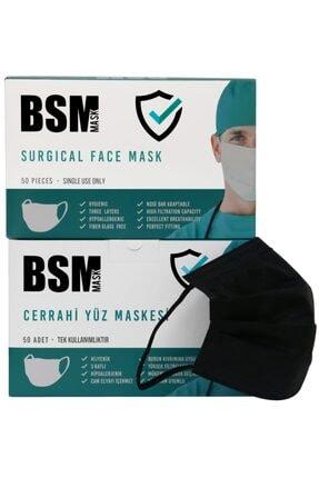 BSM Siyah 3 Katlı Yassı Lastikli Cerrahi Maske Toplam 100 Adet