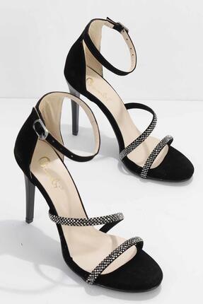 Bambi Siyah Süet Kadın Abiye Ayakkabı K01527250772