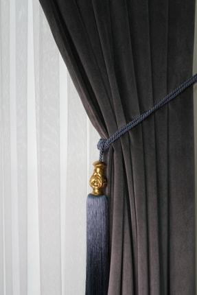 ŞİRİNLER Luxury Braçol (İndigo Mavi) Yaprak Altın - Lüks Fon Perde Bağlama Aksesuarı