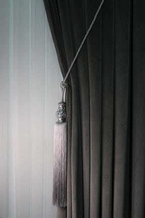 ŞİRİNLER Luxury Tavan Braçol (Gri) Yaprak Gümüş - Lüks Fon Perde Korniş Bağlama Aksesuarı